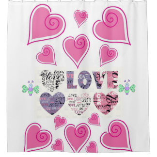 love you valentine's day white shower curtain