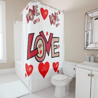 Love you white valentine's day shower curtain