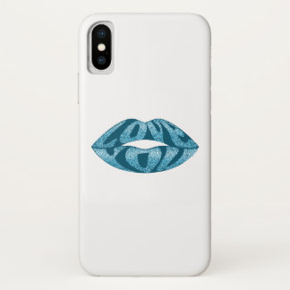 Love you with glitter letters inside lips iPhone x case