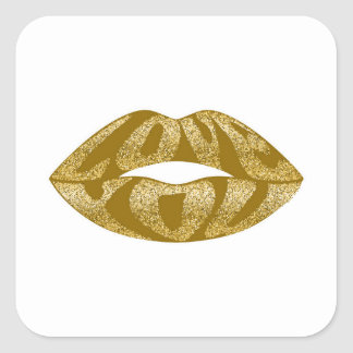 Love you with glitter letters inside lips square sticker
