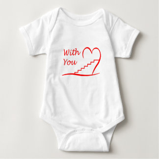 Love You, with you together the stairs up Baby Bodysuit