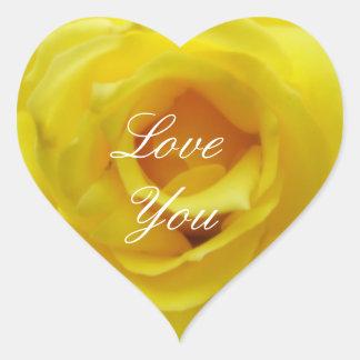 Love You Yellow Rose Heart Sticker