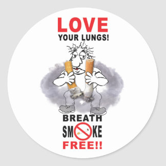 Love Your Lungs - Stop Smoking Round Sticker