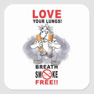 Love Your Lungs - Stop Smoking Square Sticker