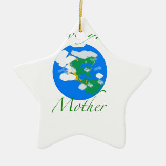 Love your mother ceramic star ornament
