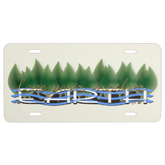 Love Your Mother Earth: Green Leaves & Water License Plate