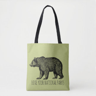 Love Your National Parks Bear Tote Bag