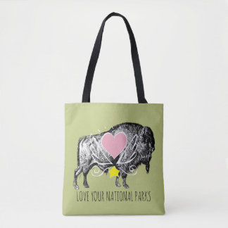 Love Your National Parks Buffalo Heart And Wings Tote Bag