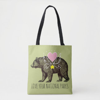 Love Your National Parks Grizzly Bear Heart Wings Tote Bag