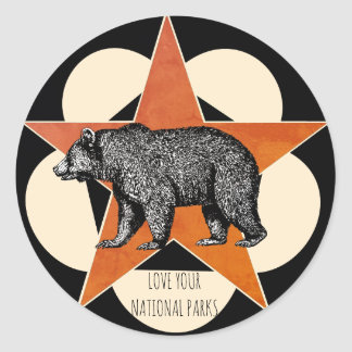 Love Your National Parks Mountain Bear Classic Round Sticker