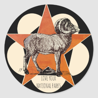Love Your National Parks Mountain Ram Classic Round Sticker