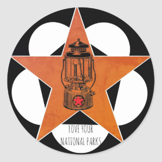 Love Your National Parks Vintage Lantern Classic Round Sticker