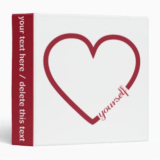 Love yourself heart minimalistic design 3 ring binders