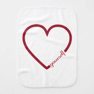 Love yourself heart minimalistic design baby baby burp cloth
