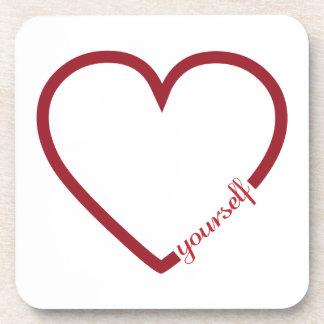 Love yourself heart minimalistic design coaster