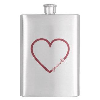 Love yourself heart minimalistic design hip flask