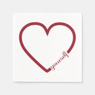 Love yourself heart minimalistic design paper napkins
