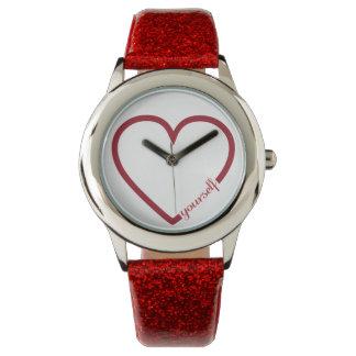Love yourself heart minimalistic design red wrist watch