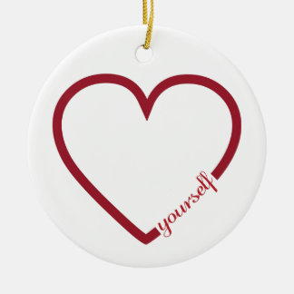 Love yourself heart minimalistic design round ceramic ornament