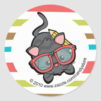 Loveable Smarty Kitten Round Sticker