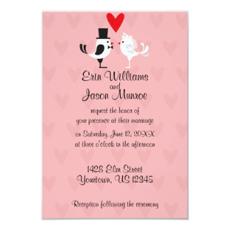 Lovebird Bride and Groom Wedding Invitation