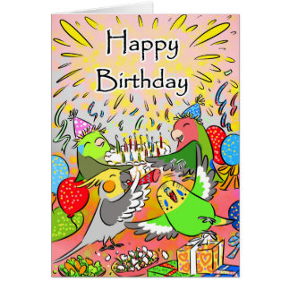 Lovebird budgie cockatiel parrotlet happy birthday card