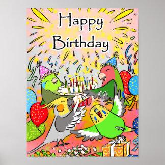 Lovebird budgie cockatiel parrotlet happy birthday poster