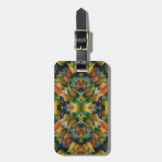 Lovebird feather kaleidoscope bag tag