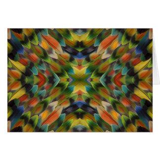 Lovebird feather kaleidoscope card