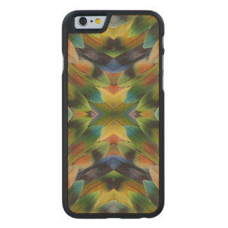 Lovebird feather kaleidoscope carved maple iPhone 6 case