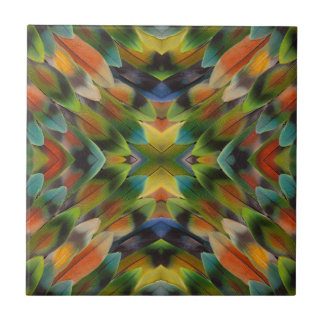 Lovebird feather kaleidoscope ceramic tile