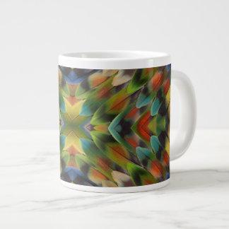 Lovebird feather kaleidoscope large coffee mug
