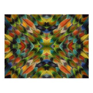 Lovebird feather kaleidoscope postcard
