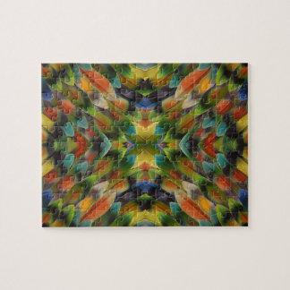 Lovebird feather kaleidoscope puzzle