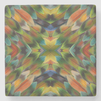 Lovebird feather kaleidoscope stone coaster