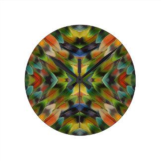 Lovebird feather kaleidoscope wall clocks