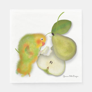 Lovebird with pear paper napkin by Gemma O Designs