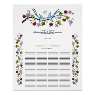 Lovebirds, 120 Guests Quaker Wedding Certiicate Poster