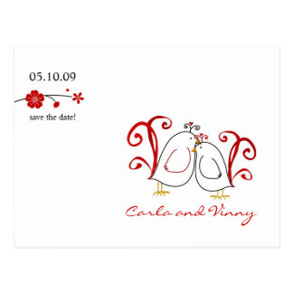 Lovebirds and Cherry Blossoms Save the Date Card