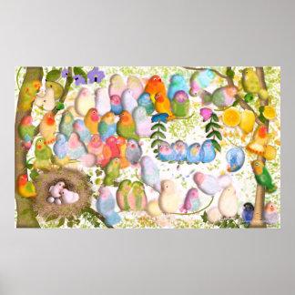 Lovebirds art Illustration by Gemma Orte Designs Poster