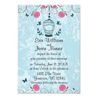 Lovebirds Bird Cage Roses Wedding Invitation