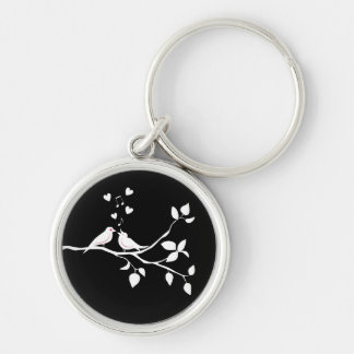 Lovebirds Black  White  Wedding Bridal Shower Love Keychain