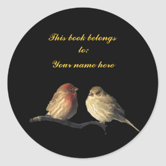 Lovebirds Bookplate Classic Round Sticker