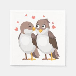 Lovebirds Brown Wedding, Bridal Shower, Engagement Disposable Napkin
