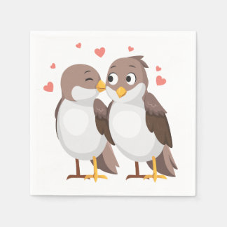 Lovebirds Brown Wedding, Bridal Shower, Engagement Napkin