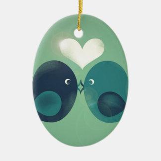 Lovebirds Ceramic Oval Ornament