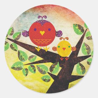 lovebirds classic round sticker