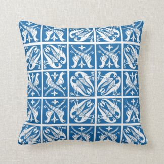 Lovebirds Delft Blue and White Throw Pillow