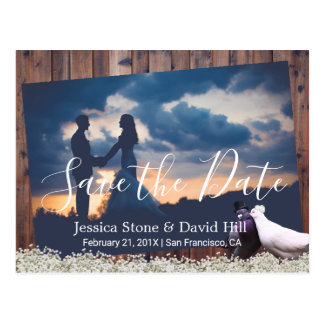 Lovebirds Floral Wedding Photo Save the Date Postcard