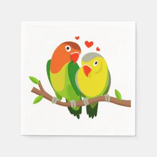 Lovebirds Green Wedding, Bridal Shower, Engagement Paper Napkins